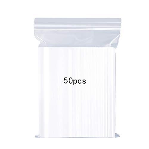 Sachets Transparents en Plastique Refermables, Sac Réutilisable de Serrure de Zip Réutilisable Fort, Epaississement et Durable, Serrure pour Fermer à Clef, 20x28cm 50PCS (Grand)