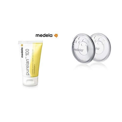 Purelan 100 Medela - Crema de lanonina 100% natural para pezones sensibles + Protectores Medela para pezones doloridos y agrietados por la lactancia