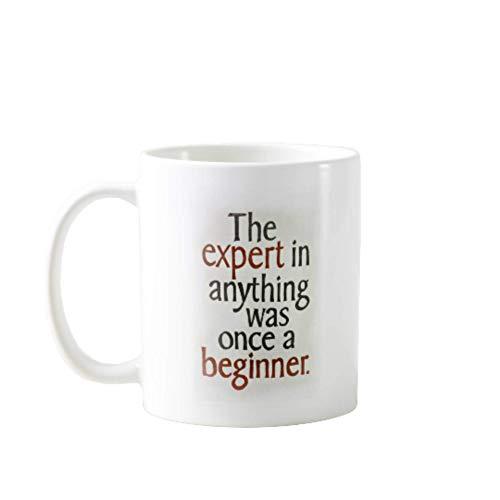 N\A Tazas DE CAFÉ PORTÁTILES Premium DE 11OZ Divertidas - EL Experto EN Cualquier Cosa ERA UN Principiante - Regalo Ideal para Hombres, Mujeres, MAMÁ, PAPÁ, Maestro, Hermano O Hermana # 10803