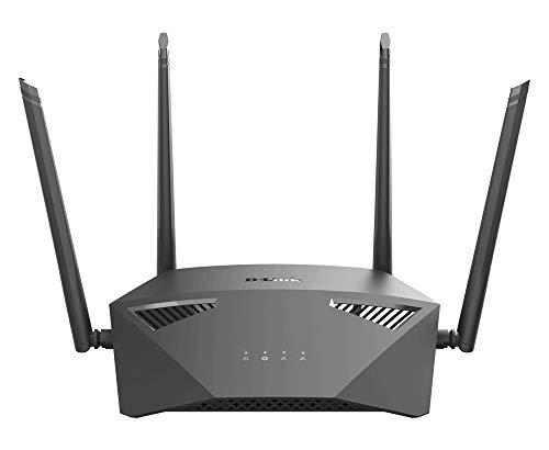 D-Link DIR-1950 AC1900 MU-MIMO Gigabit Router (2,4 & 5 GHz, 1.900 Mbit/s, 802.11a/b/g/n/ac, 4 x 10/100/1000 LAN-Anschluss, Gast-WLAN, Tischgerät), schwarz