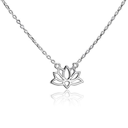 MATERIA CO-32 Cadena de flor de loto de plata 925, colgante pequeño para mujer, 40-45 cm, ajustable