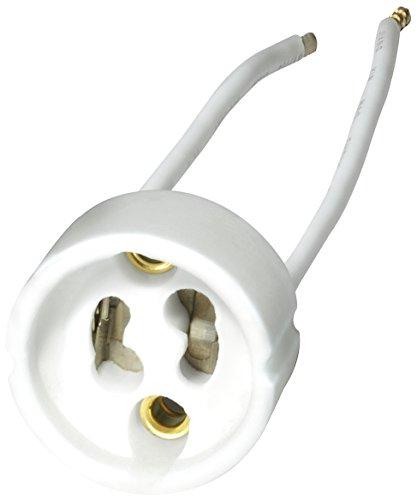 Transmedia LF2L - Casquillo para bombillas halógenas (12 V, máx. 75 W, cable de conexión de 10 cm, 20 unidades, G4/GX5.3/GY6.35, 28 x 17 mm), color blanco