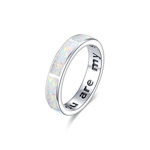 Anello in argento Sterling 925, con opale bianco, con opale e opale, per donne, fidanzate, fidanzate, mogli, matrimonio, fidanzamento, anniversario (bianco, O)