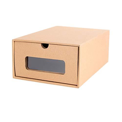 YARNOW Caja de Zapatos Apilable de 6 Piezas Caja de Almacenamiento de Zapatos de Cartón Organizadores de Contenedores de Zapatos Plegables con Ventana Visible (30X21cm)