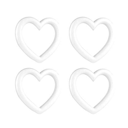 STOBOK 4 Pezzi Corona di Schiuma Artigianale polistirolo polistirolo espanso Cuore Anelli Natale Decorazioni Floreali Forniture Fai da Te Ornamento Artigianato (Bianco)