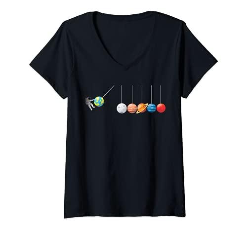 Mujer Divertida camiseta de astrofísico Planeta Péndulo de Newton Camiseta Cuello V