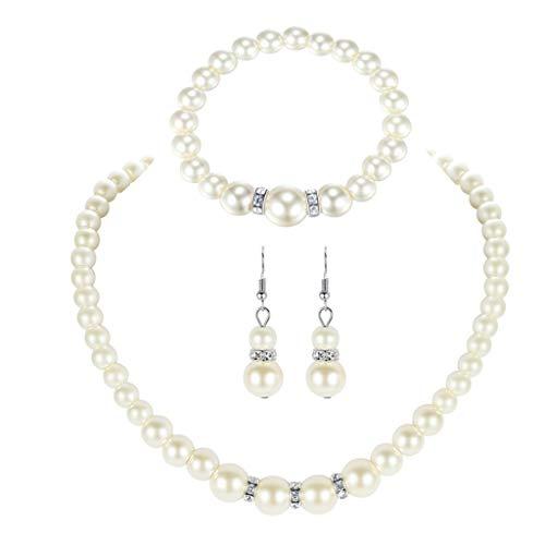 OWENRYIN Elegante collar de perlas de imitación blancas, pendientes y pulsera, cadena de perlas, pendientes, bisutería para mujer
