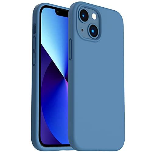 ORNARTO Silicona Líquida Funda Compatible con iPhone 13 Mini Case 5,4 , Gel Goma Protección de Cuerpo Completo Funda Protectora 3 Tapas Estructura 5,4-Azul