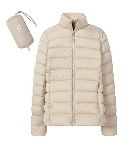 LAPASA Damen Daunenjacke Übergangsjacke Ultraleicht Winddicht Hoher Kragen mit Tasche MEHRWEG L18 (L, Weiß)