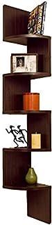 Aaliya Mart MDF Wooden Fancy Zigzag Wall Mounted Corner Shelf Shelves Books Racks (Brown)