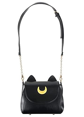 CoolChange Bolso de Luna & Artemis con Orejas de Gato para Fans de Sailor Moon | Negro