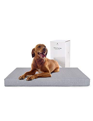 PETLIBRO cama de perro de espuma viscoelástica de 35 pulgadas x 22 pulgadas, colchón ortopédico grande de felpa para articulaciones terapéuticas y alivio muscular, extraíble y...