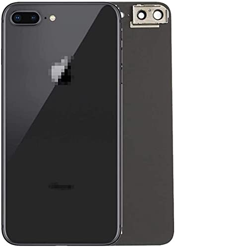 Best OEM iPhone 8 Plus Back Glass Cover Battery Door Replacement w/Adhesive, Installed Camera Frame w/Lens (Space Grey)
