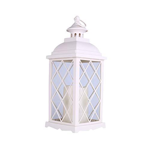 OSALADI 1 Pc Européenne En Fer Forgé Verre Coupe-Vent Lampe Bougie Lampe De Table De Mariage Jardin Suspension Lampe (Blanc Chaud)