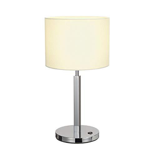 SLV Tischleuchte TENORA  effektvolle Innen-Beleuchtung   Tischlampe, LED Tisch-Leuchte, Wohnzimmer-Lampe, Schlafzimmer-Leuchte, Kinderzimmer-Lampe   1x E27 Leuchtmittel, Weiß