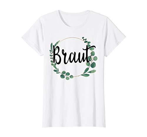 Damen Braut Bride to be Blumen Grün Vintage JGA Verlobung Geschenk T-Shirt