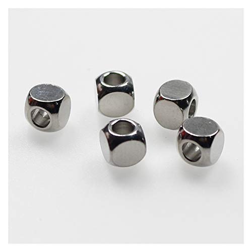 CHENGTAO 50 Unids/Lote 304 Acero Inoxidable Beads Beads Beads Metal Floot Beads DIY Joyería Making para Mujeres Hombres (Color : Round, Item Diameter : 5x5x2.8mm 50pcs)
