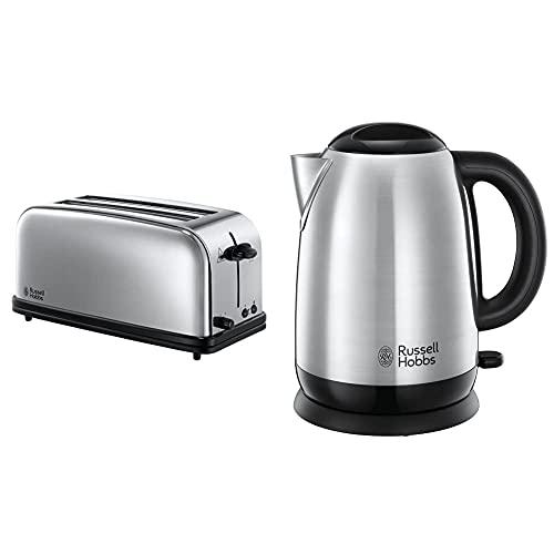 Russell Hobbs 23520-56 2-Schlitz-Langschlitz Victory Toaster (2 extra breite Langschlitzkammern für 4 Toastscheiben) & Wasserkocher, Adventure, 1,7l, 2400W, Edelstahl, herausnehmbarer Kalkfilter