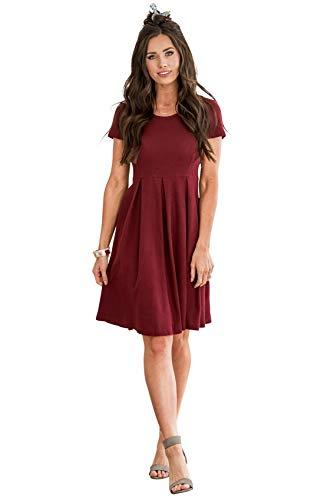Hazel Modest Dress in Cranberry - S, Modest Bridesmaid Dress in Dark Red or Burgundy (Apparel)