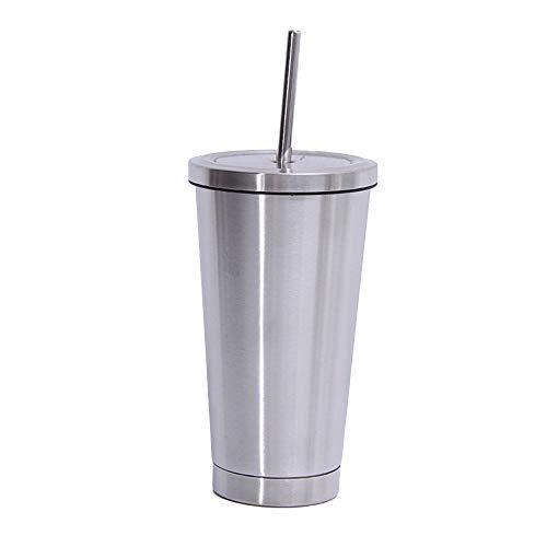 Galapara Vaso de Acero Inoxidable con Pajita y Tapa, 500ml Bebidas frías y Calientes Botellas de Agua de Metal con Aislamiento al vacío Conjunto de Tapa de Paja Taza portátil de viaj