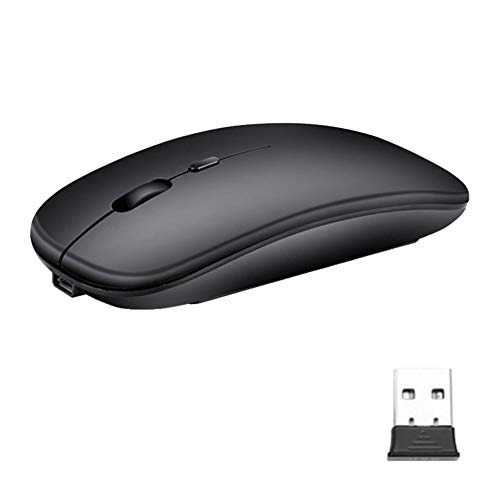 Everpert Gaming Maus 2.4GHz Wireless Charging Gaming Mouse 1600DPI 4 Silent Schnurlos Maus Silent Schnurlos Funkmaus Gaming Maus(2,4 GHz + BT) (Schwarz)
