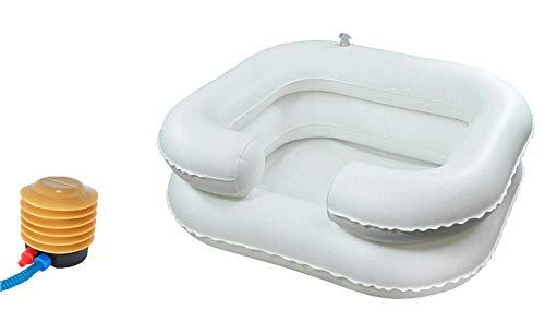 Transportables Haarwaschbecken mit Fußpumpe - Aufblasbares Haarwaschbecken für die Pflege bettlägeriger und behinderter Menschen. Zweikammer-Konstruktion mit integrierter Nackenstütze für mehr Komfort