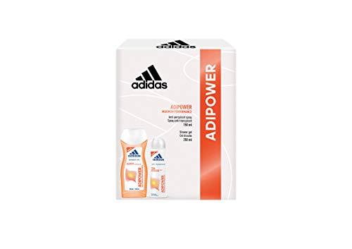 Adidas, Confezione Regalo Donna Adipower Maximum Performance, Deodorante Spray 150 ml e Gel Doccia Bagnoschiuma 250 ml