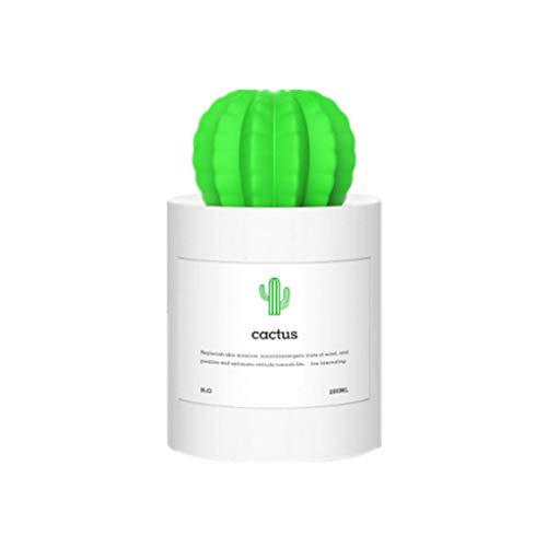 huyiko USB-Kaktus-Diffusor für ätherische Öle, Aromatherapie, Nachtlicht, fein, Nebel, Luftbefeuchter, Haushalt, Room-Dekoration, Auto Zubehör weiß