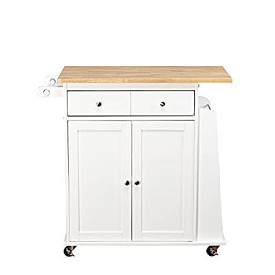 Target Marketing Systems Sonoma Collection Two-Toned Rolling Kitchen Cart with Drawer, Cabinet, and Spice Rack, White/Natural from Target Marketing Systems, Inc. - DROP SHIP