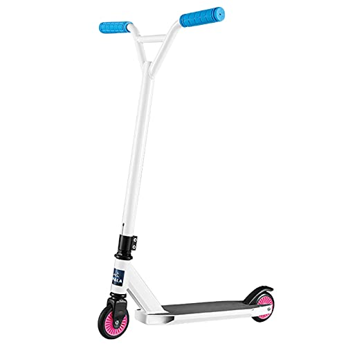 Hou Hexin Trade Stunt Habilidades Push Scooter-Scooter-niños Adulto 360 Grados Vara Fija Freestyle Scooter funscooter (Color : White)