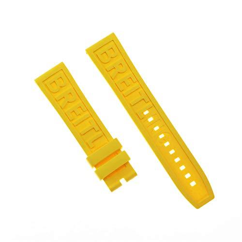 ROUHO Uhrensilikonband Atmungsaktiver Komfort Für Breitling Challenger Avenger 2 GMT-Gelb 22mm