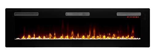 "DIMPLEX Sierra 72"" Linear Electric Fireplace, Model: SIL72, 120V, 1400W, 11.7 Amps, Black"