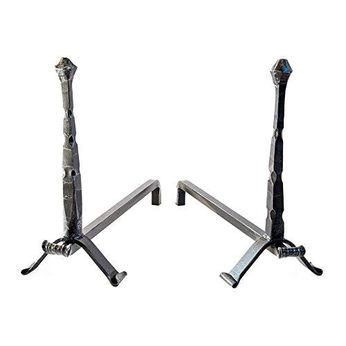 Par de con brasero L70/Morillos X PR50/X H50/cm de hierro forjado