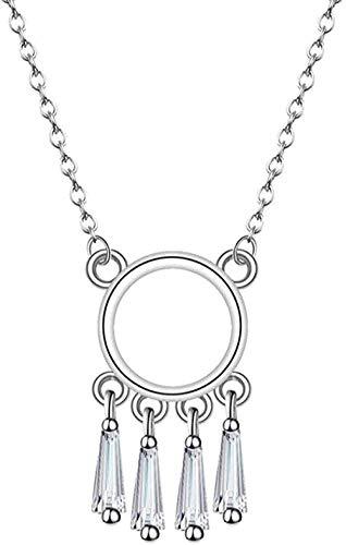 ZPPYMXGZ Co.,ltd Collar de Moda Borla Atrapasueños Collar Geometría Círculo Colgante Suéter Gargantillas Resina Cadena de eslabones Collares Mujer Colier