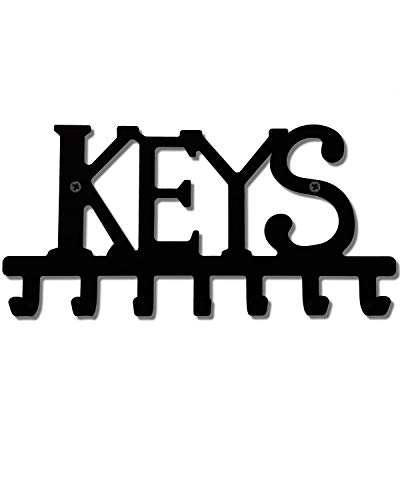 Keys Holder Hooks Organizer Rack Wall Mounted with Screws and Anchors Home Black Wall Metal Decor 7 Hooks for Entryway Front Door Kitchen Hallway Garage Mudroom Office 9.8x4.7inches (25X12cm)