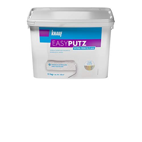 Knauf 696537 Extra Fein 11 kg 0,5 mm EASYPUTZ, Körnung, schneeweißer, mineralischer Dekorputz, hochwertig, zum einfachen Aufrollen auf Wand oder Decke im Innenbereich, atmungsaktiv