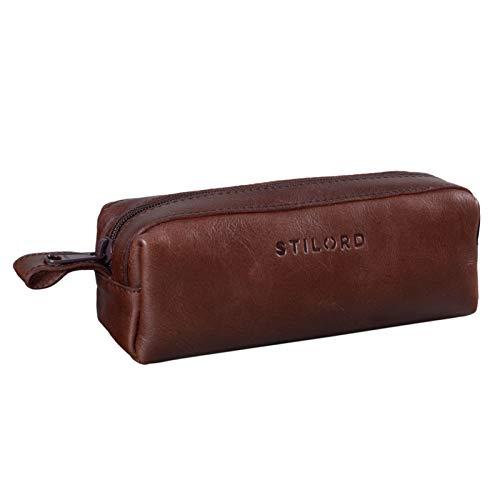 STILORD 'Linus' Estuche Escolar para lápices de Piel Bolsa o portatodo para Maquillaje Colegio o Viaje Cartuchera Cuadrada de Genuino Cuero Vintage, Color:Chocolate - marrón