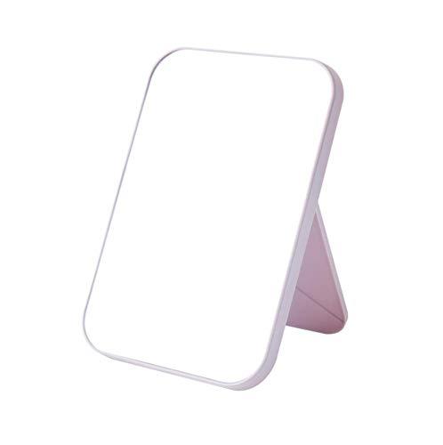 WOIWO HD Makeup Mirror Desktop Simple Dressing Mirror Square Princess Mirror Simple Folding Makeup Mirror 1PCS (Light Pink)