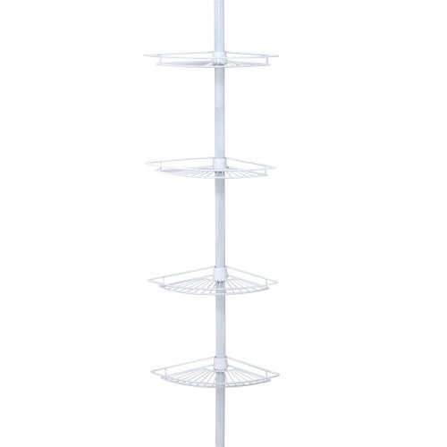 Zenna Home, White Zenith Products 2114W Tub and Shower Tension Pole Caddy, 4 Shelf
