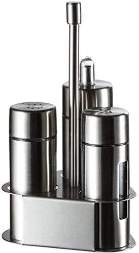 Salero y pimentero Juego de dispensador de condimentos - Botella de acero inoxidable para cocina Soporte para servidor de condimentos Soporte para tarro de especias