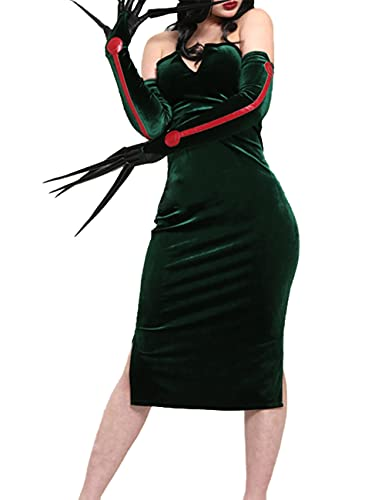 Disfraz de alquimista Fullmetal Lust - Sexy Velvet Dress Anime Halloween Party Masquerade para nia conjunto completo -Green_M