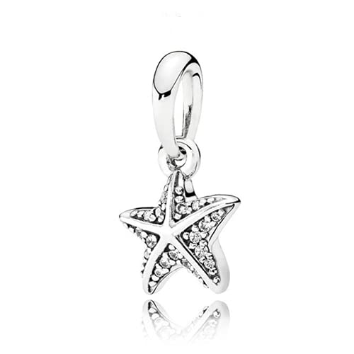 ZHANGCHEN Colgante de Plata de Ley 925, Cuenta de Estrella de mar Tropical, Amuleto de Moda para Mujer, Regalo, joyería de Bricolaje