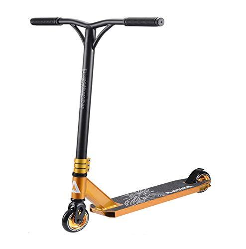 DPLQX Kick Scooter, Principiante Adulto Stunt Trick Freestyle Scooters Aluminio Lightweight 2 Ruedas Patinete - Realiza Adultos Pesados 220lb máximo de Carga, para Adultos y niños,Golden