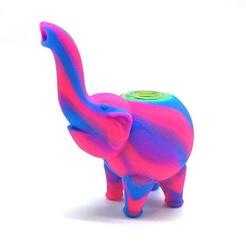 Pajita de silicona para elefante, azul/rosa
