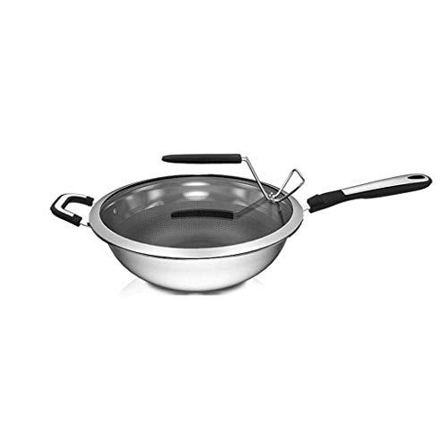MHRCJ Wok de acero inoxidable, antiadherente resistente a los arañazos de aluminio forjado capa uniforme Calefacción Cocinando vajilla