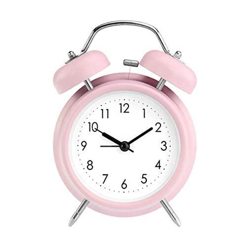 Qyvuor 5 Pulgadas sin Escala Cama clásica de la Vendimia/Reloj de Alarma analógico, retroiluminado, Reloj de Viaje de la Unidad de batería, Reloj de Alarma de Doble Campana Circular y ruidosa, Blanco