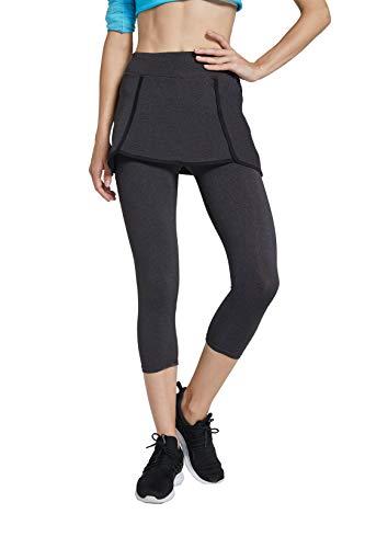 Westkun Donna Pantalone Capri Leggings con Gonna da Tennis Rock 3/4 Stampa Tessuto(Grigio Intenso,XL)