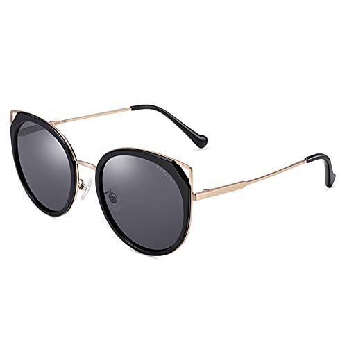 XINXD Gafas De Sol Polarizadas Gran Tamaño Ojo Gato Mujer para Conducir Viajes, Marco Metal Retro 100% Protección UV Espejo