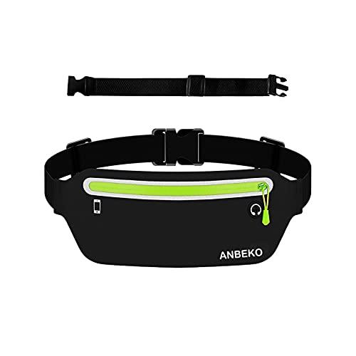 ANBEKO Slim Running belt Waist Pouch with extender, Ultra Light Bounce Free Fanny pack, Water resistant Waist pack, Adjustable Unisex Runner Waist bag for Outdoor activities Gym Workouts