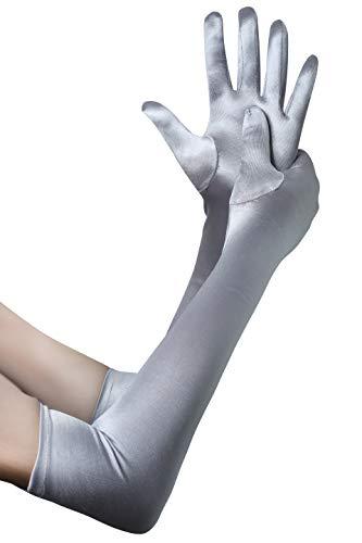 BABEYOND Damen Handschuhe Satin Classic Opera Fest Party Audrey Hepburn Handschuhe 1920er Stil Handschuhe Elastisch Erwachsene Größe Ellenbogen bis Handgelenk Länge 52/55cm (Lang Glatt 52cm / Silber)